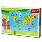 Trefl Oktató puzzle 100 db-os Világatlasz 15505
